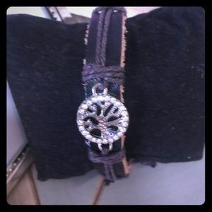Jewelry - Chocolate brown leather family tree bracelet